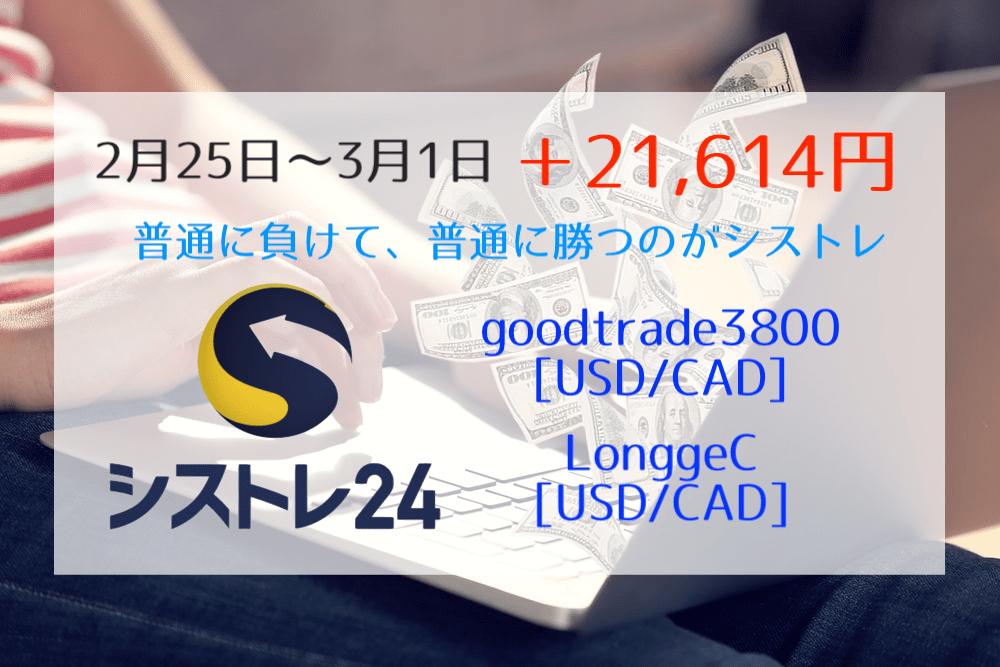 【シストレ24】2月25日〜3月1日は+21,614円の大勝利!相場観とか考えるのが苦手な人に【今年は+18%】