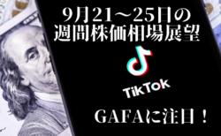 【個別株/株価指数】TikTok合意で米中対立緩和?GAFAが下げ止まらない限り下落基調は継続!【9月21〜25日の週間相場展望】